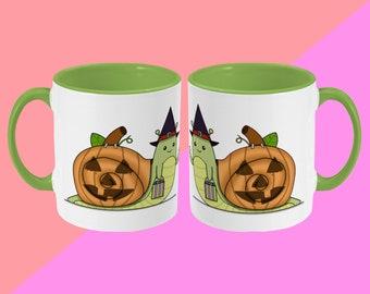 Trick Or Treat Snail Mug - Cute Illustrated Ceramic Mug - Spooky Halloween - Cute Mug, Kawaii Mug, Gift Mug, Funny Cup, Coffee Mug, Tea Cup