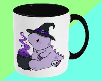 Dinosaur Witch Mug - Cute Illustrated Ceramic Mug - Spooky Halloween - Cute Mug, Kawaii Mug, Gift Mug, Funny Cup, Coffee Mug, Tea Cup