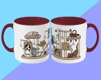 Cat Scratcher Mug - Cute Illustrated Ceramic Mug - Spooky Halloween - Cute Mug, Kawaii Mug, Gift Mug, Funny Cup, Coffee Mug, Tea Cup