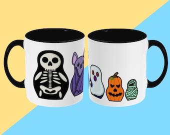 Spooky Russian Dolls Mug - Cute Illustrated Ceramic Mug - Spooky Halloween - Cute Mug, Kawaii Mug, Gift Mug, Funny Cup, Coffee Mug, Tea Cup