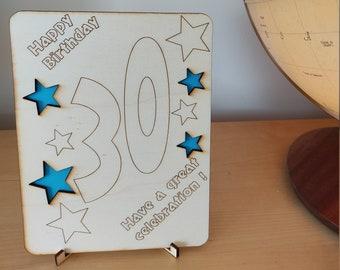 Happy 30th Birthday card, wooden laser-cut, coloured stars -Handmade