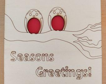 Cute Robins in a tree Seasons Greetings card, made from laser cut poplar.