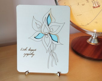 Laser-cut Wooden 'With deepest sympathy' card with pale blue laser cut petals