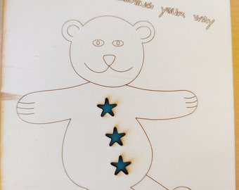 Big bear hugs coming your way, card - encouragement or thinking of you - Handmade