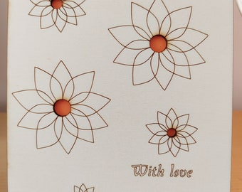 Flower design Laser cut and engraved card wishing a 'Happy Birthday'
