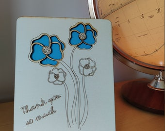 Laser-cut Wooden Thank you card with Blue flowers