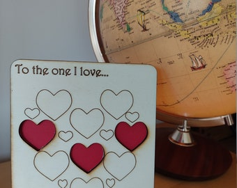 Happy Anniversary card, wooden laser-cut, red hearts Handmade