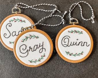 Custom Name Embroidery Hoop Ornament