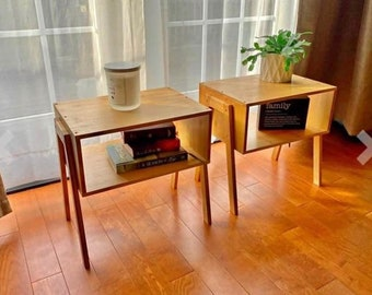 Set of 2 Bamboo Nightstands - Stackable Side Table End Table Bedside Tables Living Room Bedroom Home Décor
