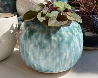 Stoneware 'melting meadow' patterned mini planter