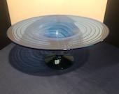 Blenko Glass Azure Emerald footed pedestal bowl center with tray rim 9826 signed by Richard Blenko 2000