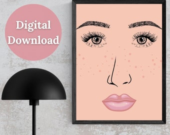 Female Face with Pink Pouty Lips Printable Wall Art, Digital Woman's Face Print, Face Art Décor
