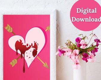 Valentine's Day Printable Wall Art, Digital Emotional Print, Heartbreak, Pink Heart with Arrows, Bleeding Heart, Heart and Arrow Décor