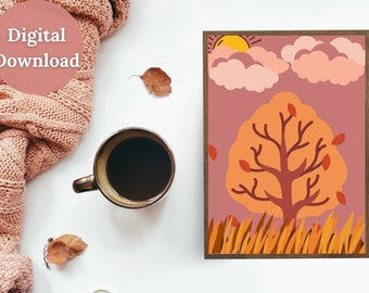 Autumn Dusk Printable Wall Art, Seasonal, Autumn, Fall, Mauve, Pink Dusk, Autumn Trees, Seasonal Décor, Autumn Décor, Fall Décor, Cozy Décor