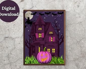 A Spooktacular Printable Wall Art, Seasonal, Autumn, Fall, Holiday, Halloween Décor, Pumpkin, Haunted House Print