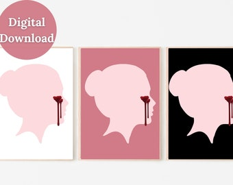 Bleeding Tears Printable Wall Art Décor, Emotional Print, Female Print, Female Silhouette, Girl with Tears, Pink, Different Backgrounds