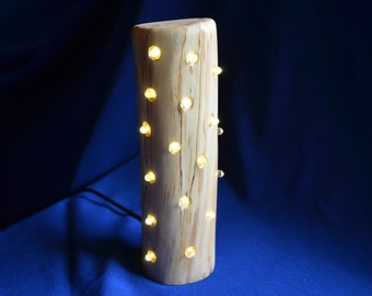 Spalted ash wooden LED light, unique and handmade, dynamic light patterns, adjustable brightness and speed, unique gift, Christmas gift