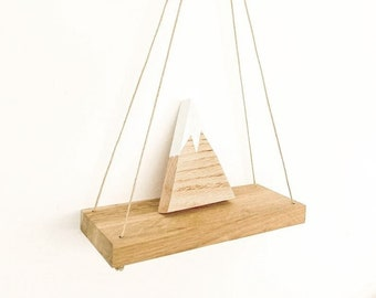 Floating Wall Shelf from Recycled Oak with Jute Rope