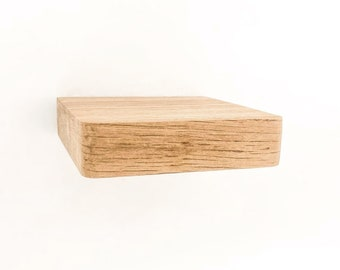 Floating Square Mini Wall Shelf Made of 100% Recycled Oak Wood Set Of 2 Minimalist Design With Integrated Screw