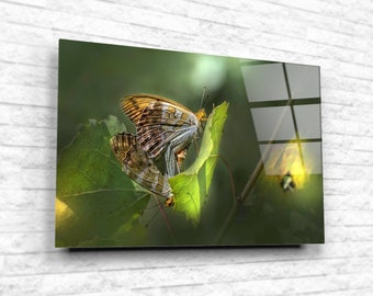 Butterflies on leaf Tempered Glass Printing Wall Art, Modern Nature Wall Art, Large Wall Decor, Beautiful Home Design