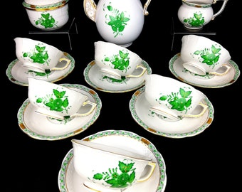 Herend Chinese Bouquet Green Tea Set for 6
