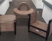 Brown Wicker furniture-end table-chair-sun chair