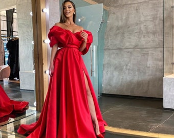 Elegant Red Prom Dress Princess Long Off The Shoulder Ruffles Split A-line Plus Size Women Formal Occasion Evening Party Gown