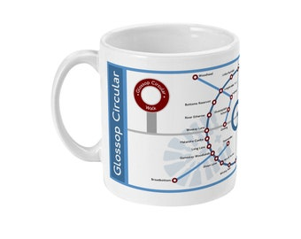 Glossop Circular Map Ceramic Mug 11oz
