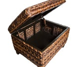 Woven Seagrass Storage Ottoman - with Safety Hinges, Living Room Decor