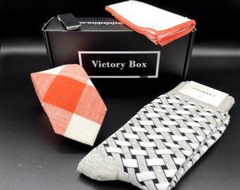 Gift Box for Men - Orange Gray Cream - Subscription Box for Men, Ties, Socks, Pocket Squares, Lapel Pins, Natural Soaps, More!