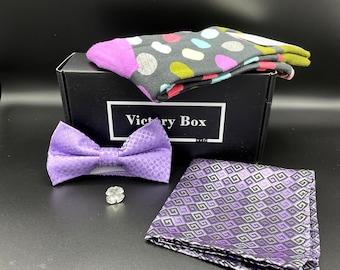 Gift Box for Men - Purple Passion & Pleasure - Subscription Box for Men, Ties, Socks, Pocket Squares, Lapel Pins, Natural Soaps, More!