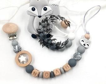 Custom gray fox nipple attachment, custom pacifier attachment or the set