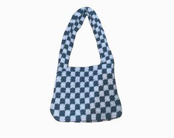 Crochet Shoulder Bag - Checkered