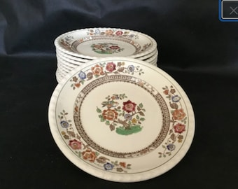 """2x Villeroy & Boch Side Plates, 'Nanking' Pattern Hand Painted German 8"""" Plates"""