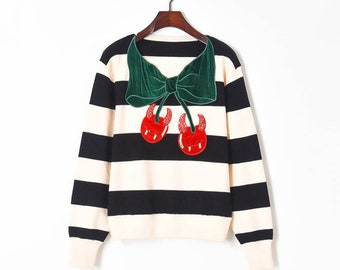 Cherry Stripe Embroidery Knit Sweater Jumper