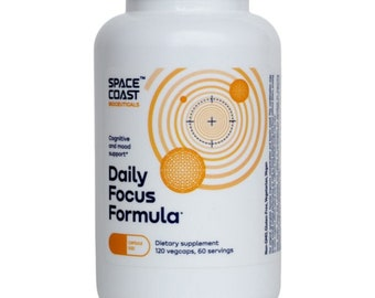 Daily Focus Formula. Cognitive and mood support. Dietary supplement. 120 vegcaps.