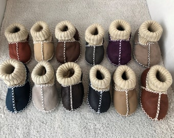handmade lambskin baby shoes sheepskin booties for toddler baby slippers genuine leather with fur