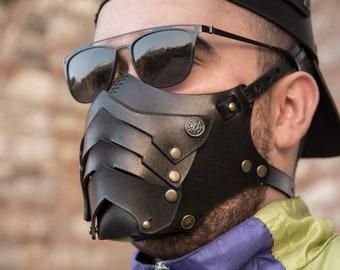 Leather Biker Mask,Handmade Leather Steampunk Mask,BDSM Mask,Fantasy Mask,Halloween,Costume Mask,Leather Wearable Mask,Motorcycle Helmet