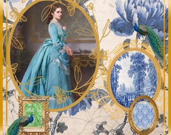 Blue Toile - Vintage 1800's Lady with Gold Frames - Peacocks - Handmade Textured Greeting Card with Envelope-Blank  - Handprinted