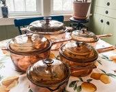 Vintage 1970s 10pc Pyrex Visions CorningWare Cookware pot set, excellent condition