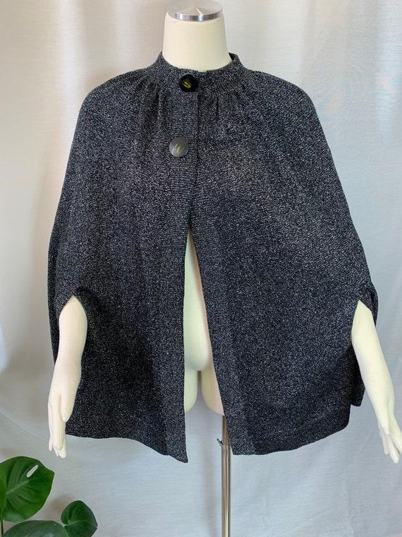 Vintage Black Silver Lurex Knit Cape 1960s /1970s