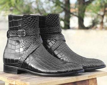 Men Handmade Leather Black Jodhpurs Boots, Mens Alligator Texture Formal Boots, Men's Boot