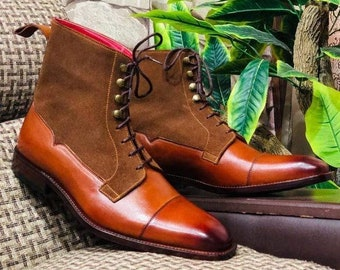 Mens Handmade Brown Ankle High Cap Toe Boots, Men's Leather Suede Formal Dress Boots