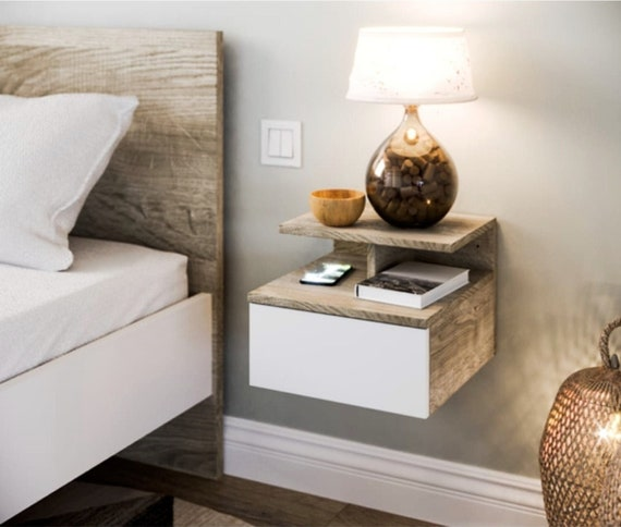 Minimalist Floating Nightstand with Drawer, Wooden Bedside Table, Bedroom Furniture, Wall Mounted Nightstand, Minimalist Bedside Table