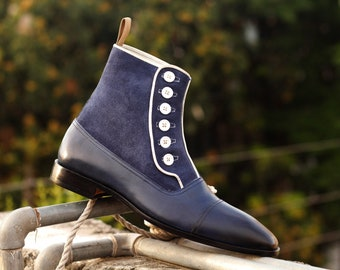 Men's Handmade Blue Button Top Ankle High Boots , Suede And Leather Cap Toe Vintage Style Dress Boots