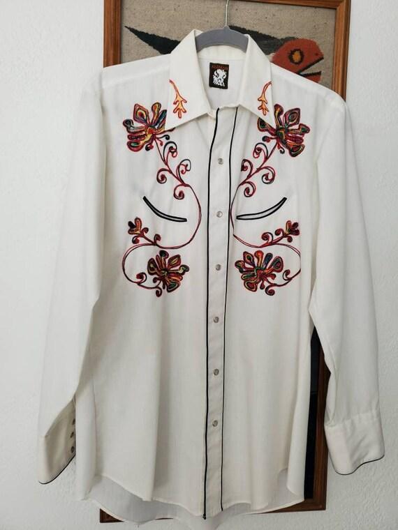 Mens Western Vintage Rockabilly Style Shirt