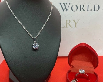 Zirconia Jewelry Set Sterling Silver Plated Set Diamond (AAA+)