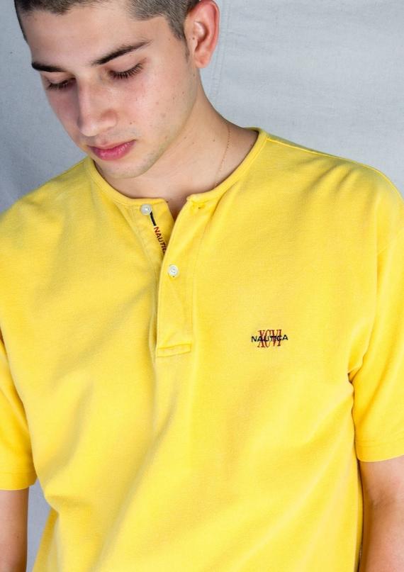 Vintage 1990s Nautica Bright Yellow Henley