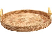 11 Inches Woven Rattan Round Tray for Coffee Table