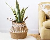 Moroccan Handmade Bamboo Storage Baskets, Foldable Laundry Straw Patchwork, Wicker Rattan Seagrass Belly, Garden Flower Pot Planter Basket